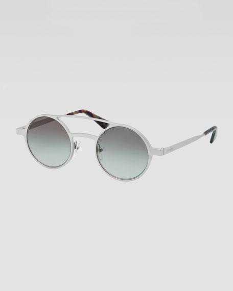 Round Keyhole Sunglasses, Gray