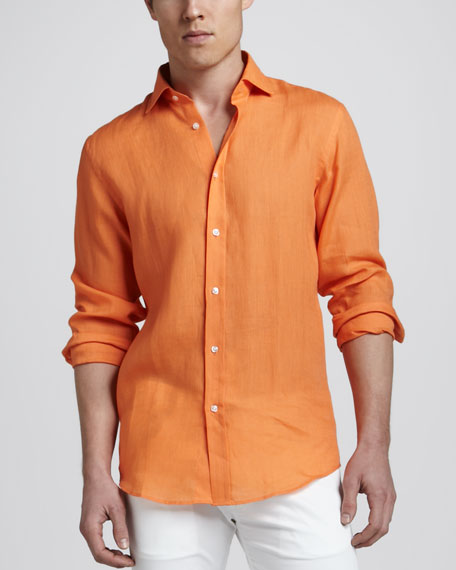 Linen Sport Shirt, Lifeboat Orange