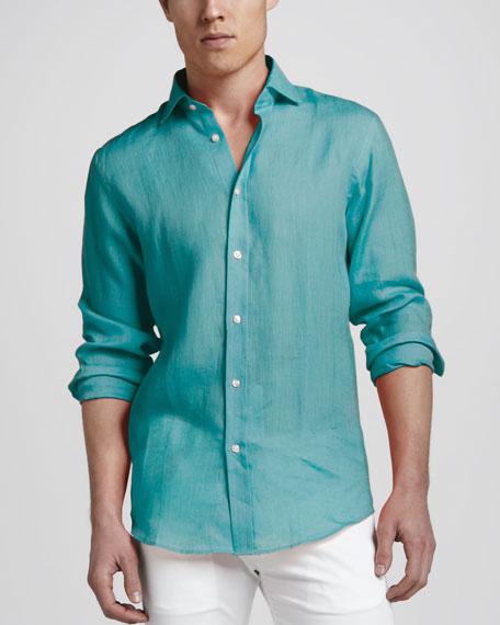 Woven Linen Sport Shirt, Turquoise