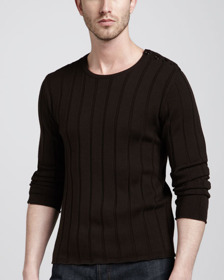 Button-Shoulder Ribbed Sweater