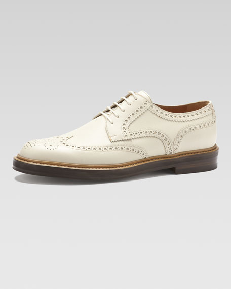 Eyck Leather Lace-Up, Mystic White