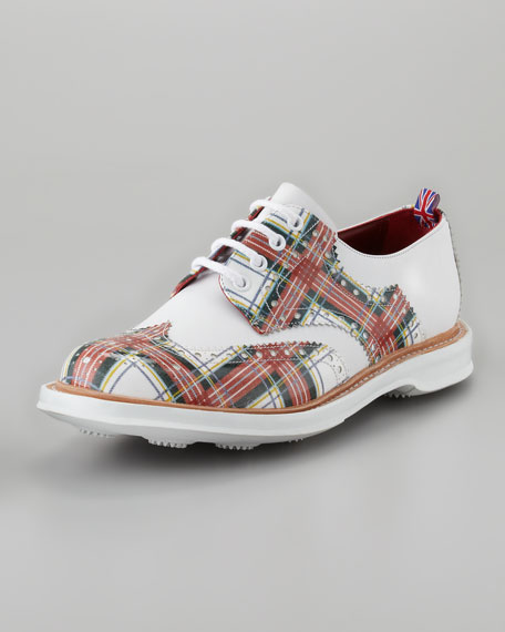 Farthington Tartan Wing-Tip Oxford, White