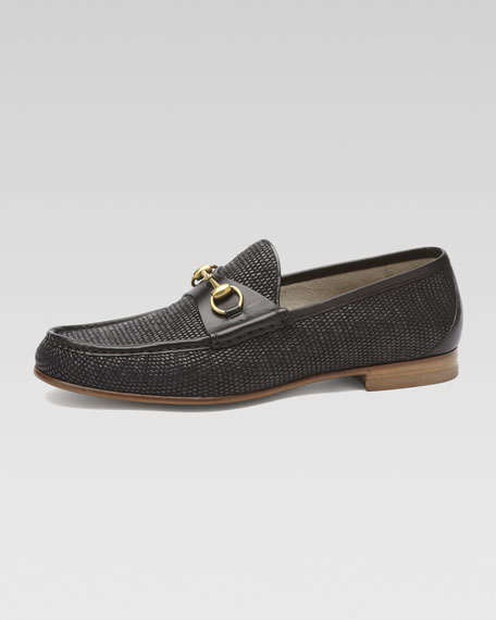 Straw Horsebit Loafer, Black