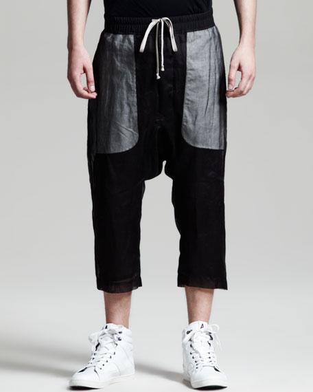 Cropped Drop-Crotch Drawstring Pants, Black