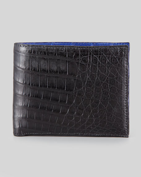 Bicolor Crocodile Wallet, Black/Cobalt
