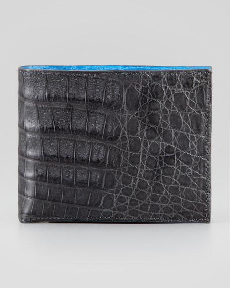 Bicolor Crocodile Wallet, Gray/Blue