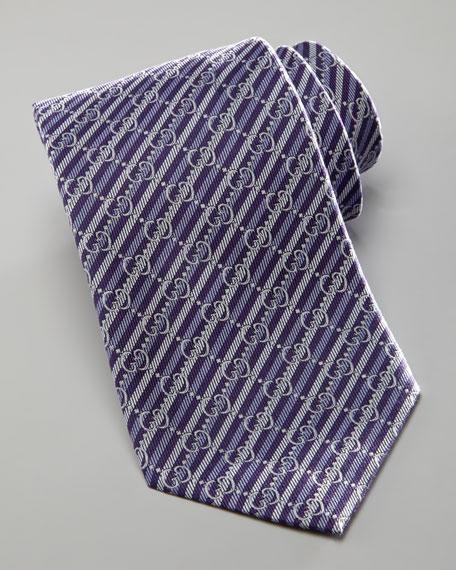 GG Striped Tie, Dark Purple