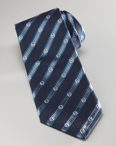 Diagonal Stripe Tie With GG, Midnight