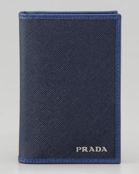 Saffiano Bicolor Bi-Fold Wallet, Blue/Navy