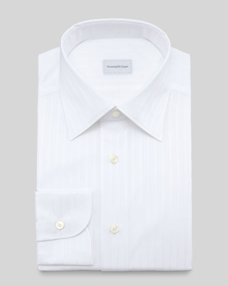 Tonal-Stripe Dress Shirt, White