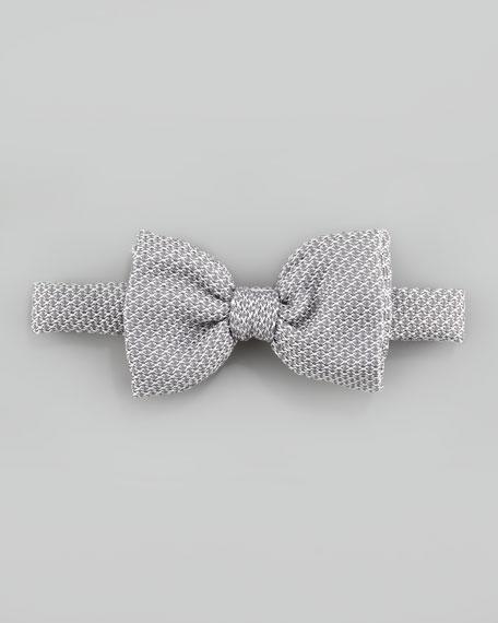 Grenadine Textured Silk Bow Tie, Silver