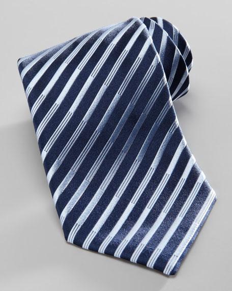 Diagonal-Stripe Silk Tie, Navy/Light Blue