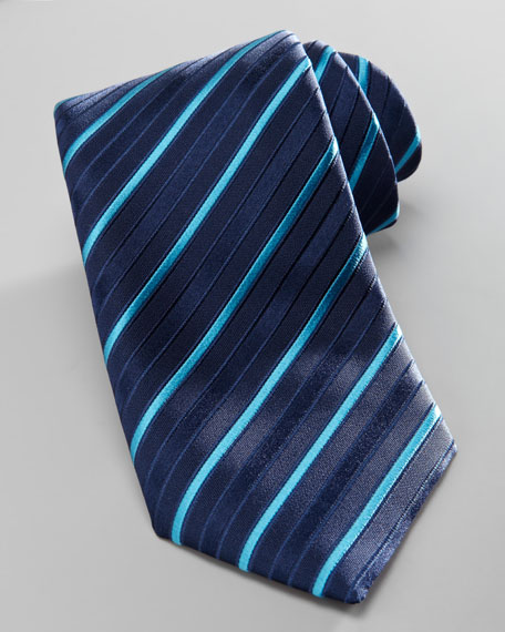 Tonal-Stripe Silk Tie, Blue