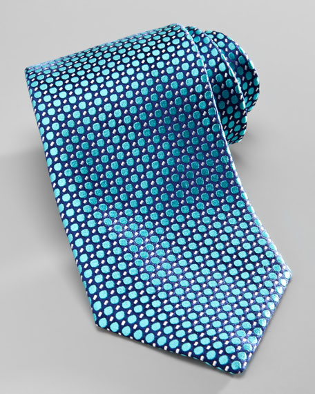 Polka-Dot Silk Tie, Blue/Aqua