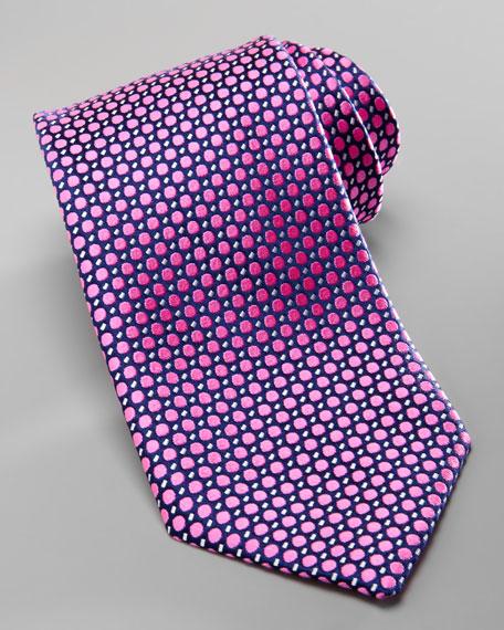 Polka-Dot Silk Tie, Navy/Pink