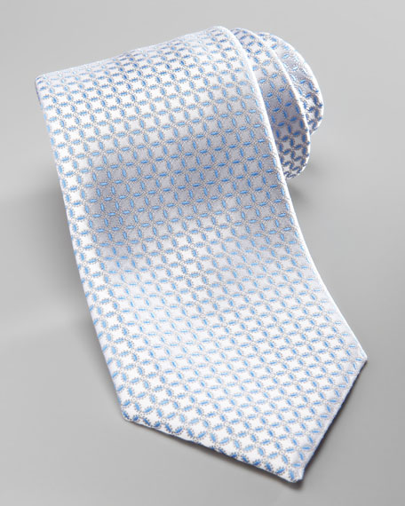 Neat-Circle Silk Tie, Silver/Blue