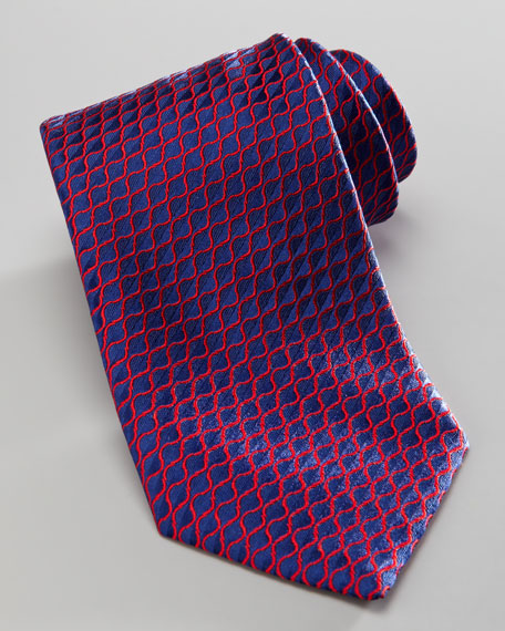 Diagonal-Neat Silk Tie, Blue/Red