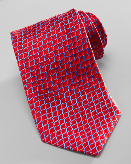 Diagonal-Neat Silk Tie, Red/Blue