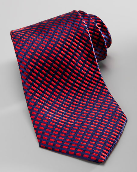 Diagonal Neat Silk Tie, Red/Navy