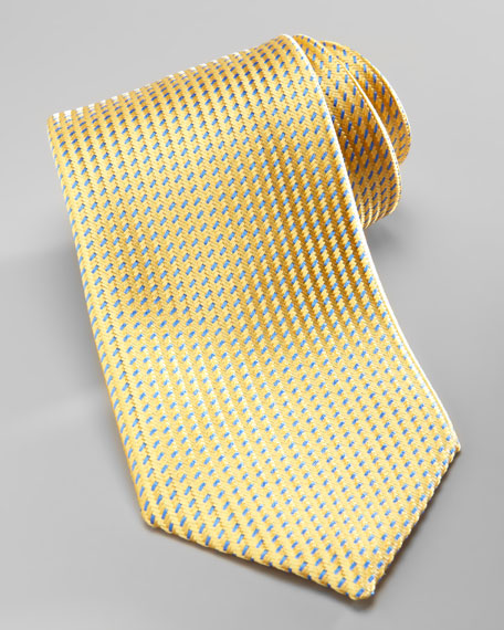 Neat Silk Tie, Yellow/Blue