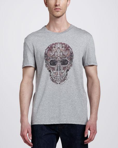 Floral Skull Tee, Gray