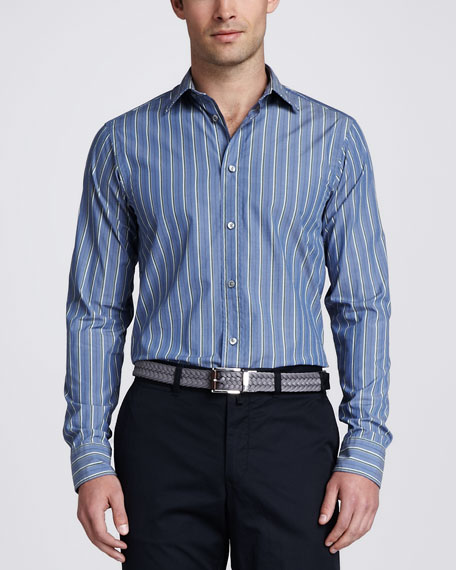 Vertical Striped Poplin Sport Shirt, Blue