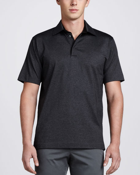 Birdseye Polo, Black/Charcoal