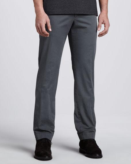Gabardine-Twill Pants, Gray