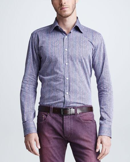 Paisley & Striped Sport Shirt, Purple