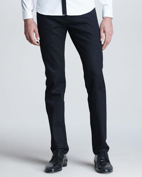 Five-Pocket Denim Trousers, Black