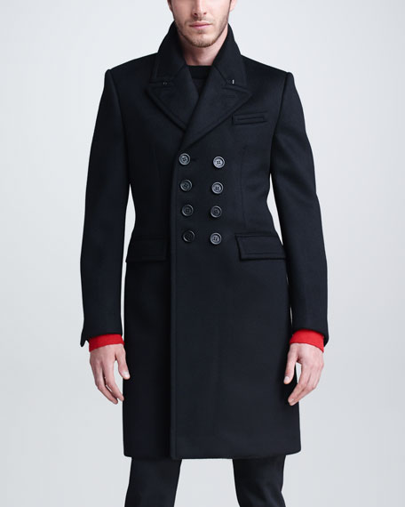 Cashmere-Blend Double-Breasted Overcoat, Black