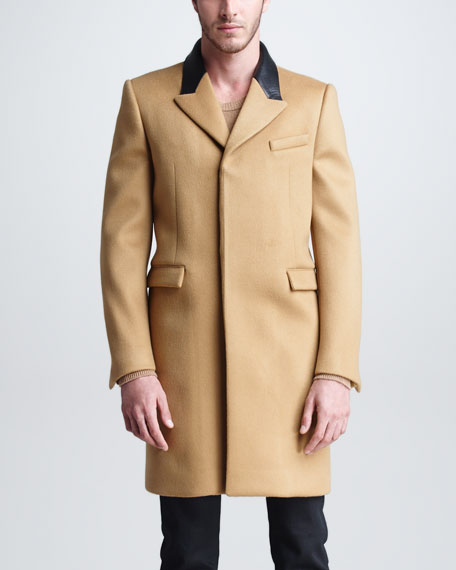 Single-Breasted Leather-Collar Coat