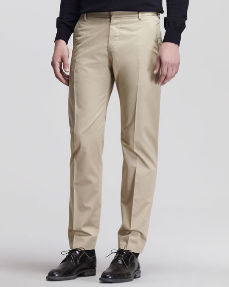 Flat-Front Trousers, Beige