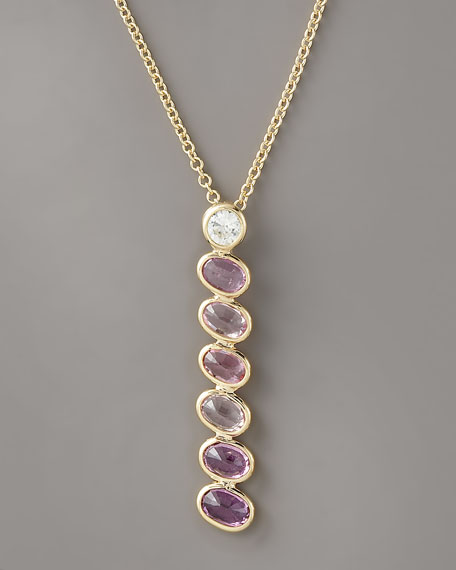 Sapphire Pendant Necklace, Pink