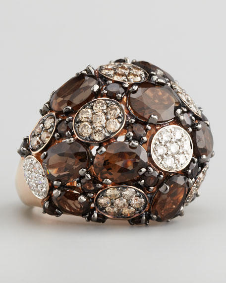 Shanghai Diamond & Smoky Quartz Ring