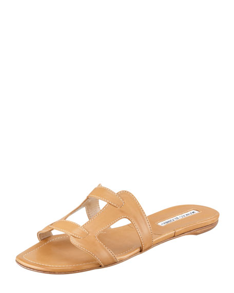 Grella Pieced Leather Slide, Beige