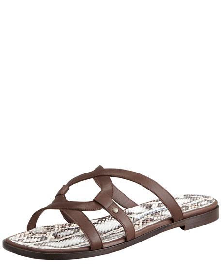 Trulimod Flat Slide Sandal, Dark Brown