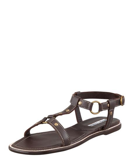 Flat Bridle Leather Sandal, Dark Brown