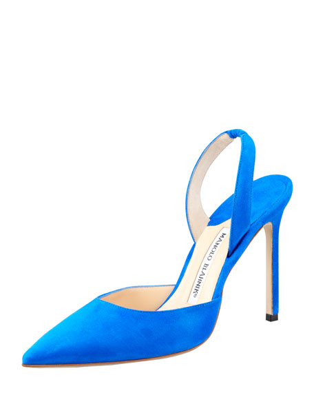 Carolyne Suede High-Heel Halter Pump, Blue