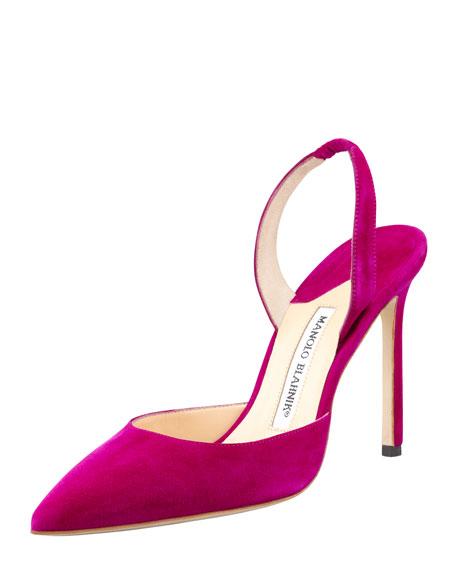 Carolyne Suede High-Heel Halter Pump, Purple