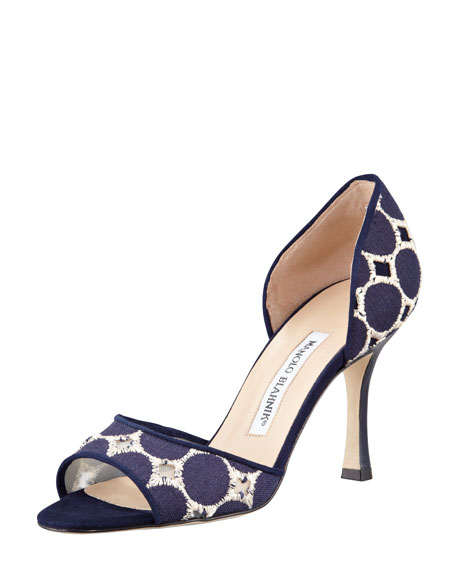 Castano Embroidered d'Orsay Pump