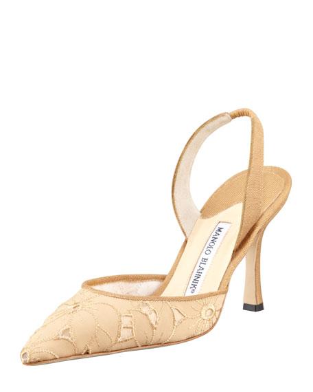 Carolyne Eyelet High-Heel Halter, Beige