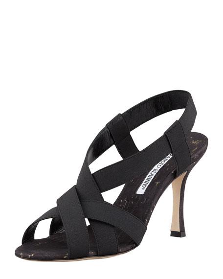 Lasti Crisscross Cork Slingback Sandal, Black