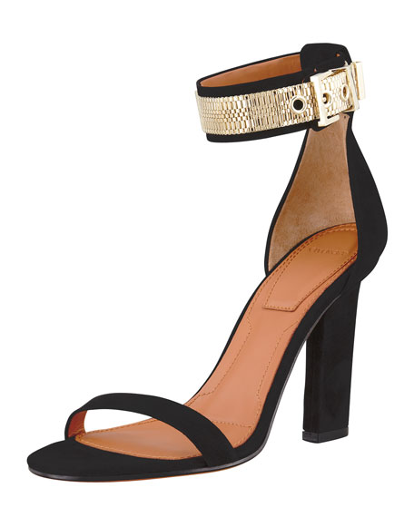 Chain-Wrap Suede Sandal