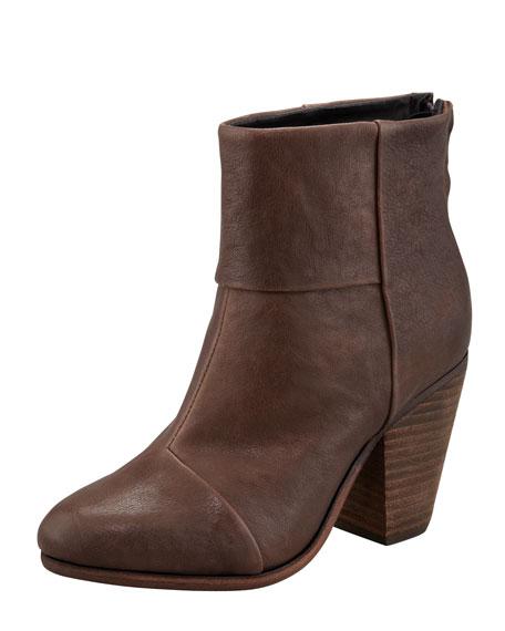 Newbury Leather Ankle Boot, Dark Brown
