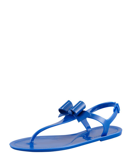 Jelly Bow Thong Sandal, Blue