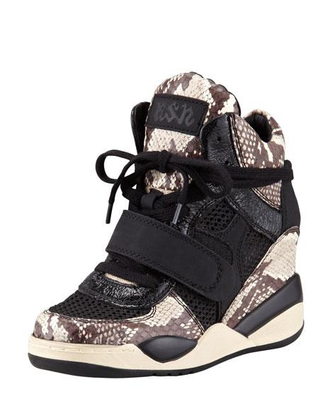 Funky Python-Print Wedge Sneaker