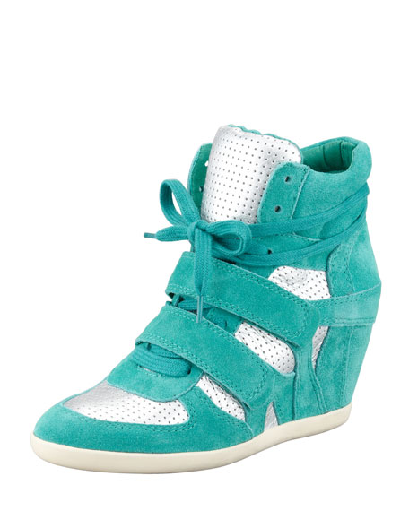 Bea High-Top Wedge Sneaker, Teal