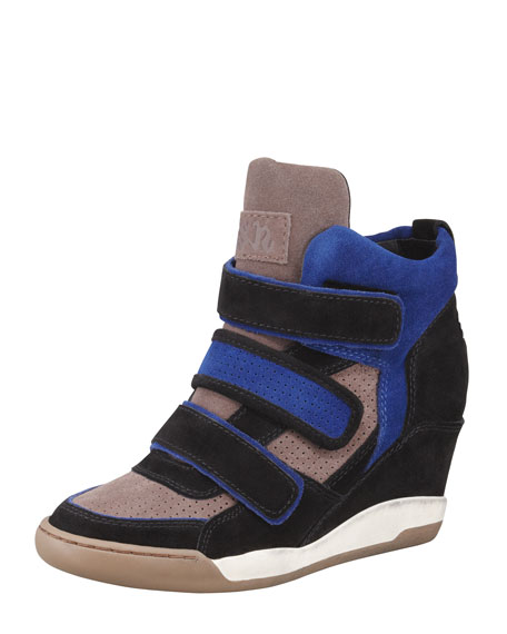 Alex 3-Tone Wedge Sneaker, Blue/Black/Multicolor