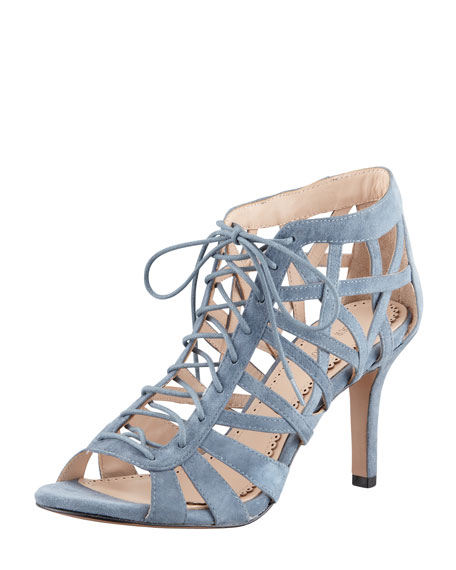 Natassja Lattice Suede Bootie, Gray
